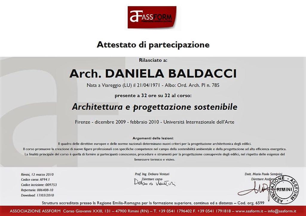 Attestato master Architettura e progettazione sostenibile